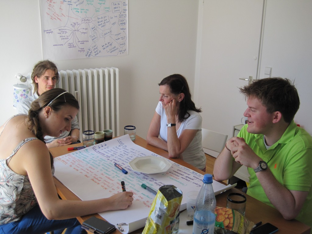 Writing up the lesson plan in Berlin. The brainstorm sheet is on the wall.
